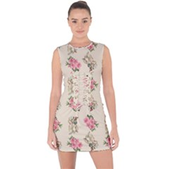 Retro Dog Floral Pattern Ecru Lace Up Front Bodycon Dress