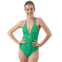 Sonata Emerald Halter Cut Out One Piece Swimsuit