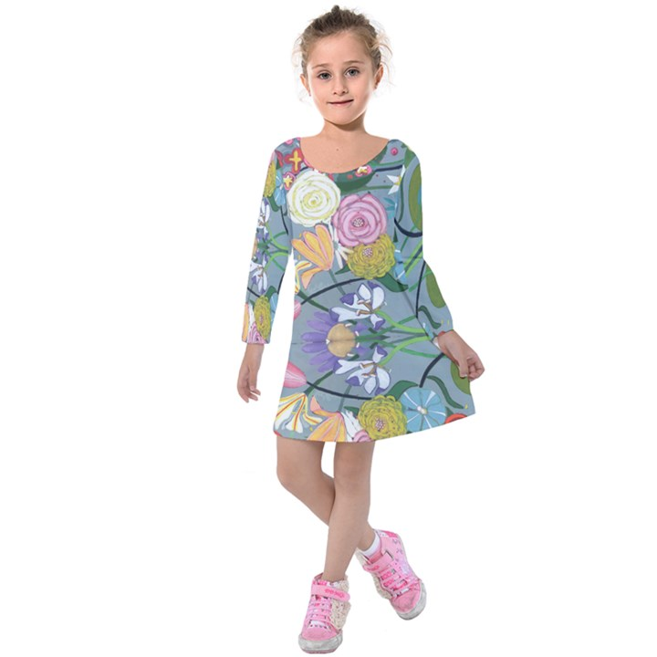 Jardin des Plantagenets Kids  Long Sleeve Velvet Dress
