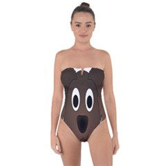 Dog Pup Animal Canine Brown Pet Tie Back One Piece Swimsuit