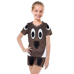 Dog Pup Animal Canine Brown Pet Kids  Mesh Tee And Shorts Set
