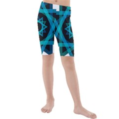 Transparent Triangles Kids  Mid Length Swim Shorts