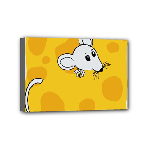 Rat Mouse Cheese Animal Mammal Mini Canvas 6  X 4  (stretched) by Samandel