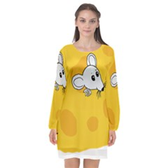 Rat Mouse Cheese Animal Mammal Long Sleeve Chiffon Shift Dress