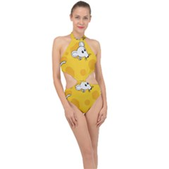 Rat Mouse Cheese Animal Mammal Halter Side Cut Swimsuit