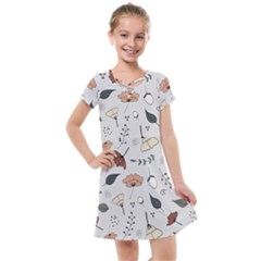 Grey Toned Pattern Kids  Cross Web Dress