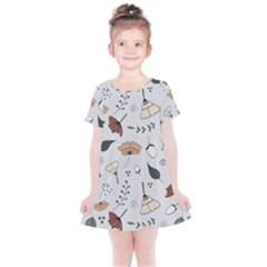 Grey Toned Pattern Kids  Simple Cotton Dress
