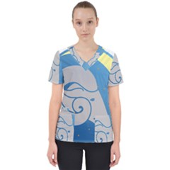 Ram Zodiac Sign Zodiac Moon Star Women s V Neck Scrub Top