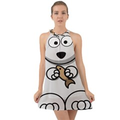 Bear Polar Bear Arctic Fish Mammal Halter Tie Back Chiffon Dress