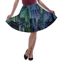 City Night Landmark A Line Skater Skirt
