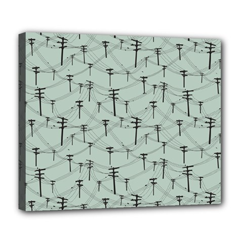 Telephone Lines Repeating Pattern Deluxe Canvas 24  X 20  (stretched)