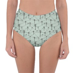 Telephone Lines Repeating Pattern Reversible High Waist Bikini Bottoms