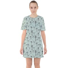 Telephone Lines Repeating Pattern Sixties Short Sleeve Mini Dress