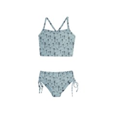 Telephone Lines Repeating Pattern Girls  Tankini Swimsuit