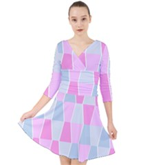 Geometric Pattern Design Pastels Quarter Sleeve Front Wrap Dress