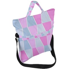 Geometric Pattern Design Pastels Fold Over Handle Tote Bag