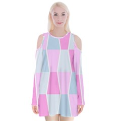 Geometric Pattern Design Pastels Velvet Long Sleeve Shoulder Cutout Dress