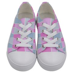 Geometric Pattern Design Pastels Kids  Low Top Canvas Sneakers