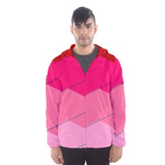 Geometric Shapes Magenta Pink Rose Hooded Windbreaker (men) by Samandel