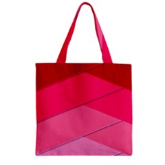 Geometric Shapes Magenta Pink Rose Zipper Grocery Tote Bag