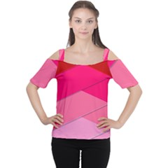 Geometric Shapes Magenta Pink Rose Cutout Shoulder Tee