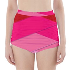 Geometric Shapes Magenta Pink Rose High Waisted Bikini Bottoms by Samandel