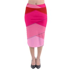 Geometric Shapes Magenta Pink Rose Midi Pencil Skirt
