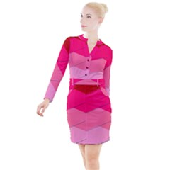 Geometric Shapes Magenta Pink Rose Button Long Sleeve Dress