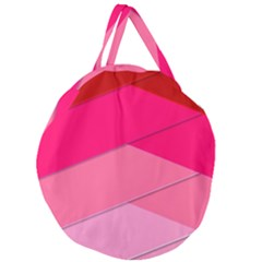 Geometric Shapes Magenta Pink Rose Giant Round Zipper Tote