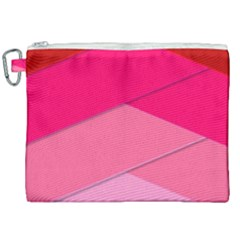 Geometric Shapes Magenta Pink Rose Canvas Cosmetic Bag (xxl)