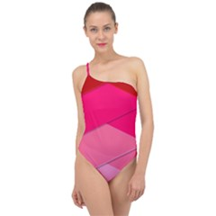 Geometric Shapes Magenta Pink Rose Classic One Shoulder Swimsuit
