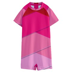 Geometric Shapes Magenta Pink Rose Kids  Boyleg Half Suit Swimwear