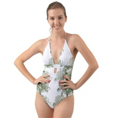 Trees Tile Horizonal Halter Cut Out One Piece Swimsuit