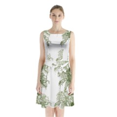 Trees Tile Horizonal Sleeveless Waist Tie Chiffon Dress