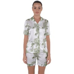 Trees Tile Horizonal Satin Short Sleeve Pyjamas Set by Samandel