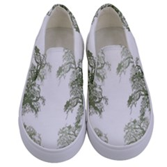 Trees Tile Horizonal Kids  Canvas Slip Ons