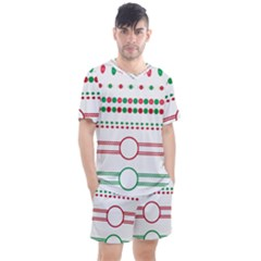 Christmas Borders Frames Holiday Men s Mesh Tee And Shorts Set