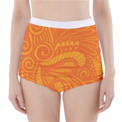 Pop Orange High Waisted Bikini Bottoms by ArtByAmyMinori
