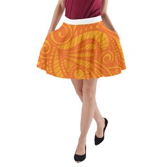Pop Orange A Line Pocket Skirt by ArtByAmyMinori