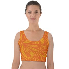 Pop Orange Velvet Crop Top by ArtByAmyMinori