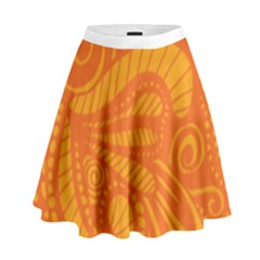 Pop Orange High Waist Skirt by ArtByAmyMinori
