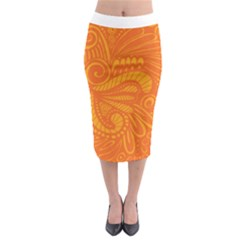 Pop Orange Midi Pencil Skirt by ArtByAmyMinori