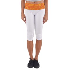 Pop Orange Lightweight Velour Capri Yoga Leggings