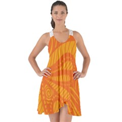 Pop Orange Show Some Back Chiffon Dress by ArtByAmyMinori