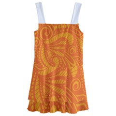 Pop Orange Kids  Layered Skirt Swimsuit by ArtByAmyMinori