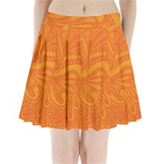 Pop Orange Pleated Mini Skirt by ArtByAmyMinori