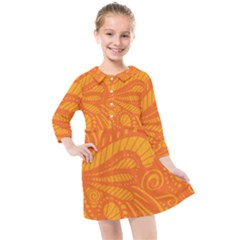 Pop Orange Kids  Quarter Sleeve Shirt Dress by ArtByAmyMinori