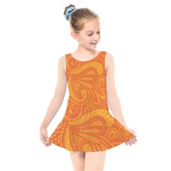 Pop Orange Kids  Skater Dress Swimsuit by ArtByAmyMinori
