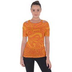 Pop Orange Shoulder Cut Out Short Sleeve Top