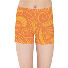Pop Orange Kids Sports Shorts